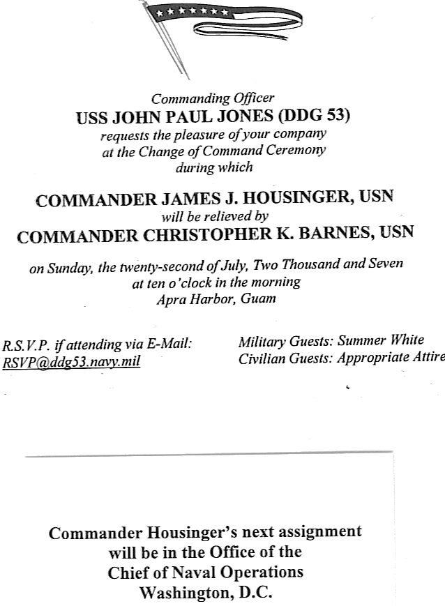 Change of Command Invitation